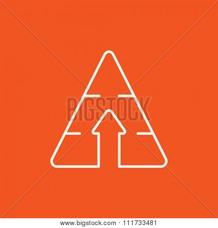 Pyramid with arrow up line icon for web, mobile and infographics. Vector white icon isolated on red background.