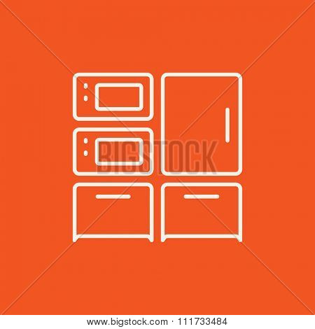 Household appliances line icon for web, mobile and infographics. Vector white icon isolated on red background.