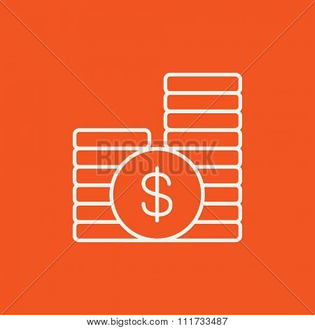 Dollar coins line icon for web, mobile and infographics. Vector white icon isolated on red background.