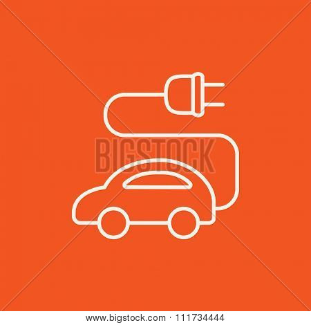 Electric car line icon for web, mobile and infographics. Vector white icon isolated on red background.