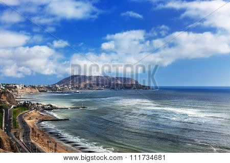 coastline and coastal road in Lima