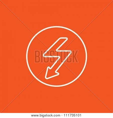 Lightning arrow going down inside circle line icon for web, mobile and infographics. Vector white icon isolated on red background.