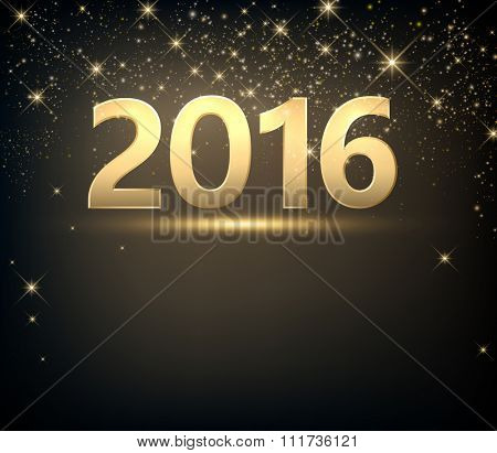 2016 New Year sparkling background. Vector paper illustration.