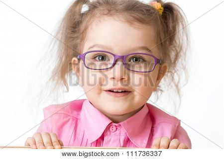 Smiling girl wearing glasses closeup portrait isolated