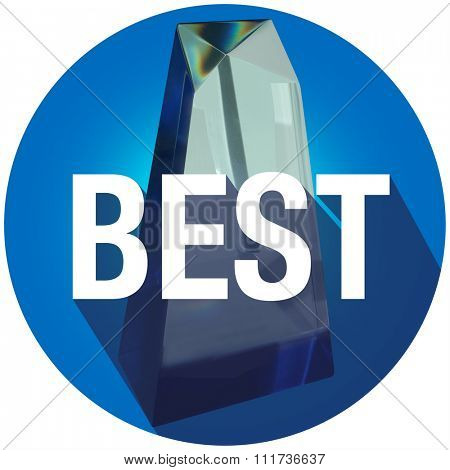 Best word with long shadow on an award as recognition or appreciation for being top employee, boss or performer in a competition
