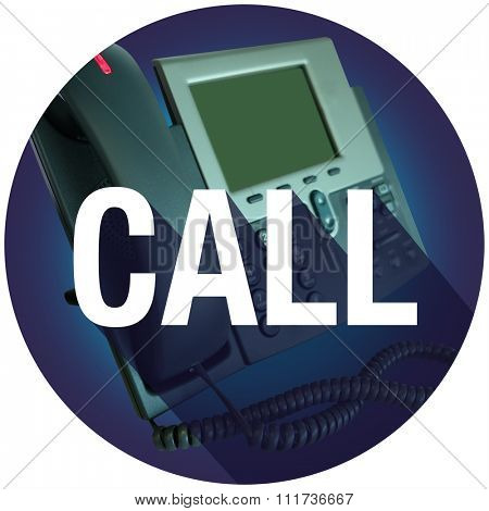 Call word on an office telephone for contact help or assistance, with long shadow