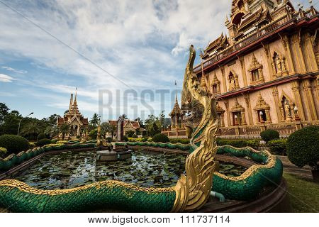 Naga Sculpture In The Garden Of Chalong Temple, Phuket, Thailand