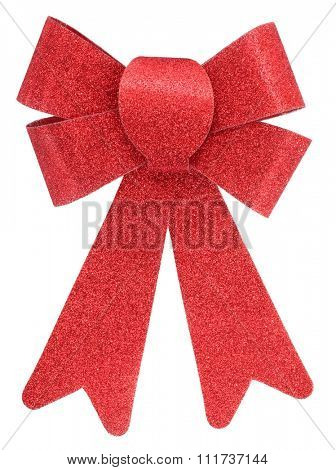 Sparkling red gift bow or Christmas decor