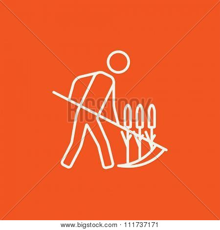 Man mowing grass with a scythe line icon for web, mobile and infographics. Vector white icon isolated on red background.