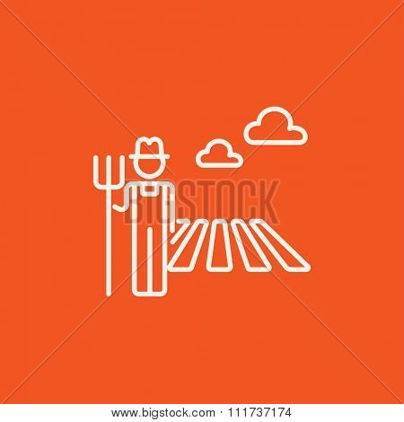 Farmer with pitchfork standing on the field line icon for web, mobile and infographics. Vector white icon isolated on red background.