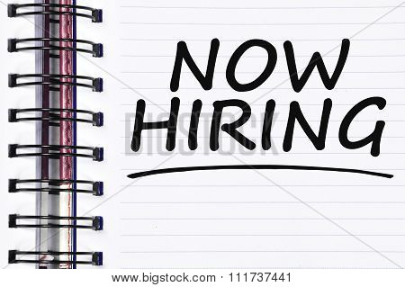 Now Hiring Words On Spring White Note Book