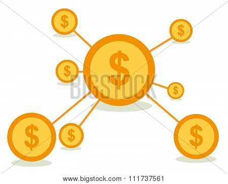 Business network concept vector design with dollars coin