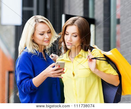 Two beautiful young female shopaholics surfing the internet in search of discounts.