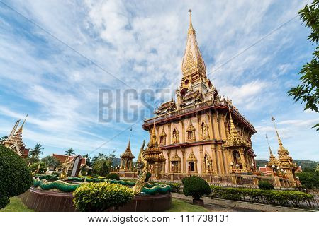 Holy Pagoda In Chalong Temple, Phuket, Thailand