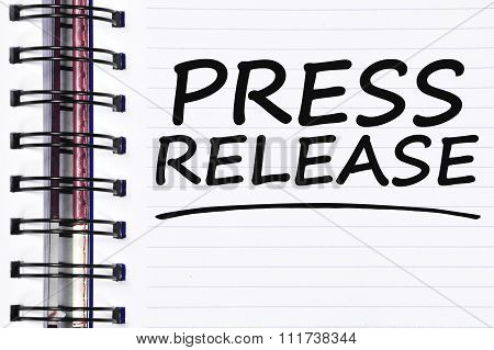 Press Release Words On Spring White Note Book