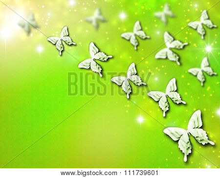 Abstract background with many beautiful butterflies.