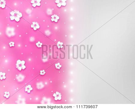 Elegant beautiful bright pink bokeh background with shining stardust and tiny cute flowers.