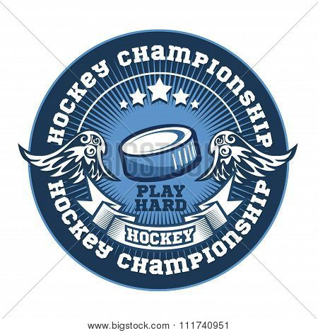 Hockey team logo template. Emblem, logotype template, t-shirt apparel design. Sport badge for tourna