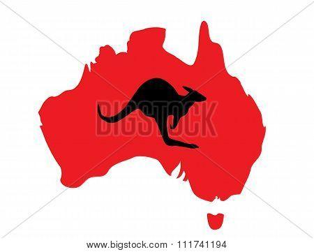 Orange Map Of Australia And Kangaroo