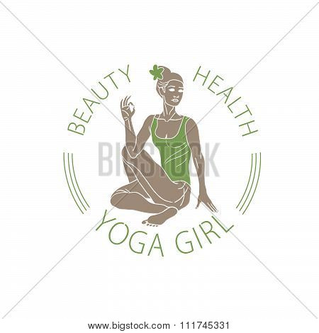 Vector Emblem Girl In Yoga Pose