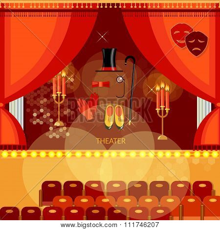 Theater Stage With Red Curtain Theatre Hall Actors Scenario Performance Vector Illustration
