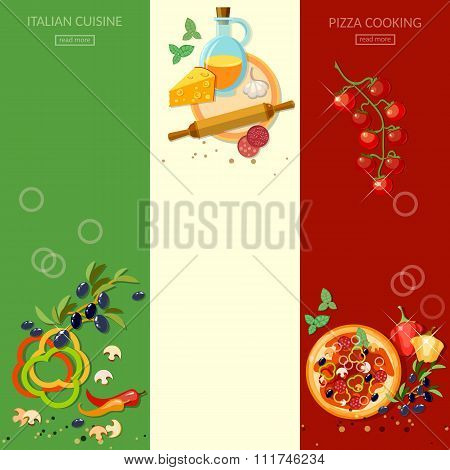 Pizzeria Cooking Pizza Italian Cuisine Ingredients Olives Cheese Tomatoes Vertical Banners
