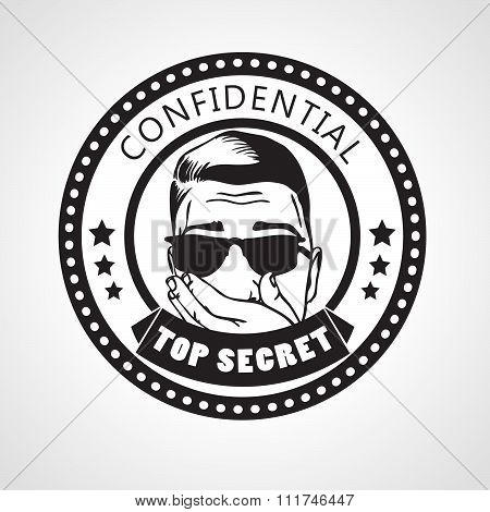Vector round Confidential top secret stamp or sticker