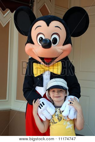 Mickey Mouse And Boy In Disneyland California