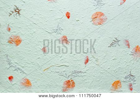 Abstract Texture Background. Handmade Wrinkled Paper With Pieces Of Leaves.