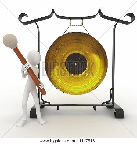 3D Man With Big Gong