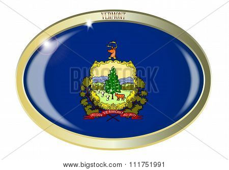 Vermont State Flag Oval Button