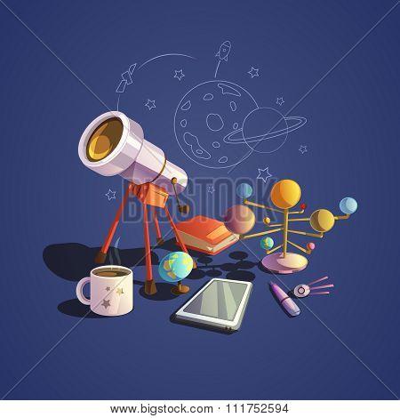 Astronomy cartoon set