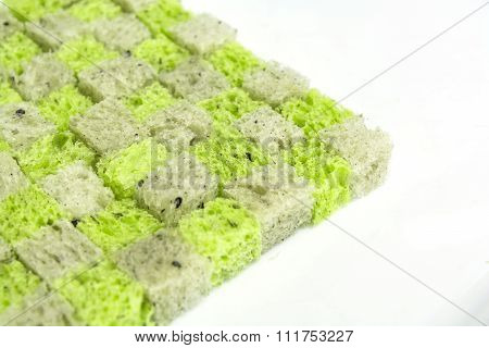 Spinach And Black Sesame Bread, Dice Bread Conner On White Background