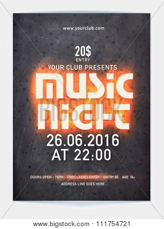 Music Night Flyer, Banner or Template design with date and time details.