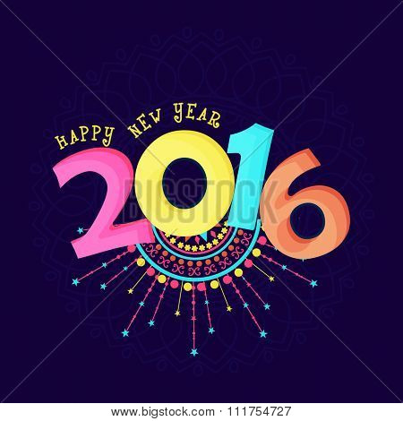 Colorful floral design decorated greeting card with text 2016 for Happy New Year celebration.