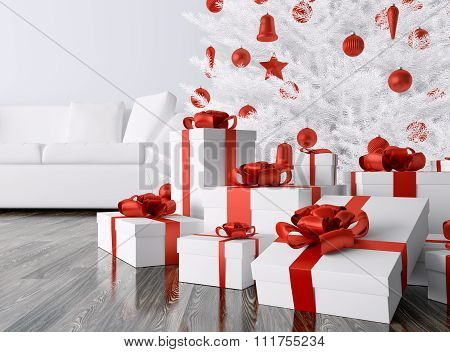 Christmas Tree, Gifts In A Room 3D Rendering
