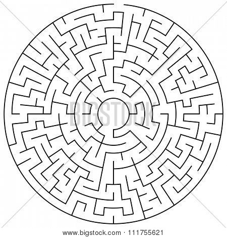 Circular maze puzzle game illustration for background or leisure time