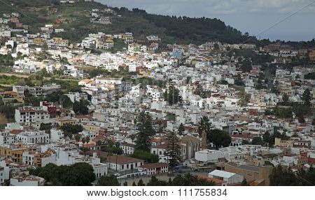 Gran Canaria, Aerial View Of Historic Town Teror