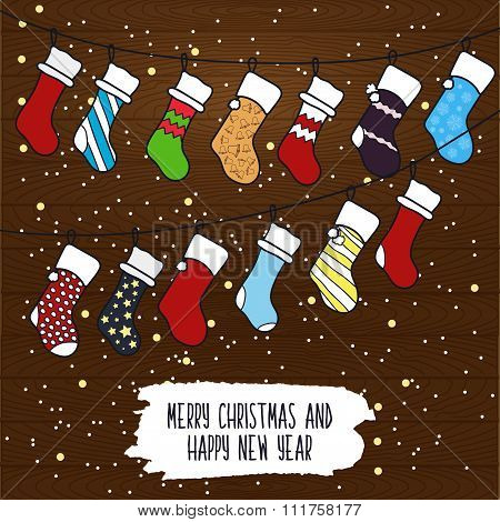 Cute Cartoon Illustration On The Theme Of Merry Christmas And Happy New Year With A Festive Winter C