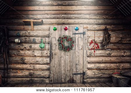 Farmhouse Wall With Christmas Decorations