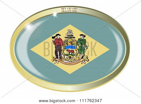 Delaware State Flag Oval Button