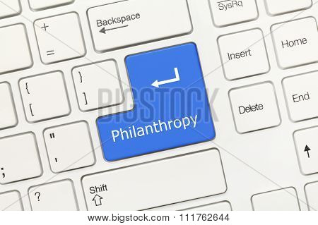 White Conceptual Keyboard - Philanthropy (blue Key)