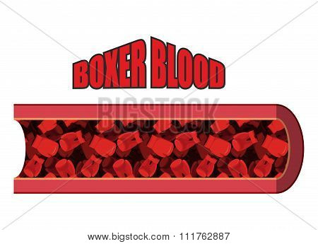 Blood Boxer. Blood Cells In  Form Of Boxing Gloves. Anatomy Of Blood Vessel. Humorous Picture. In Ve