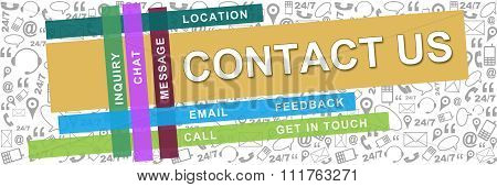 Contact Us Wordcloud Colorful Stripes With Texture