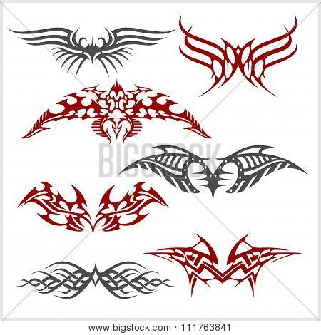 Tattoo set in tribal style on white background
