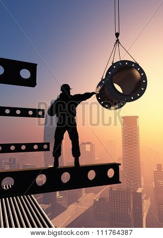 Silhouette of a worker on  the background skyscrapers
