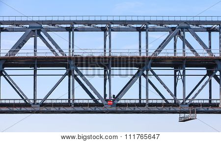 Steel Truss Bridge Fragment With Two Levels
