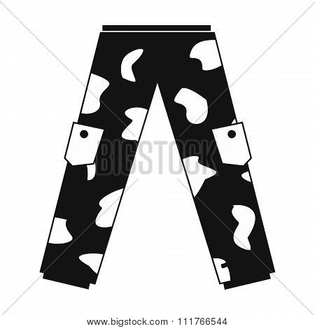 Camouflage trousers simple icon