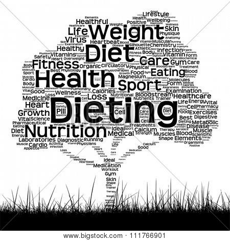 Vector concept or conceptual black health text word cloud as tree and grass isolated on white background metaphor for health, nutrition, diet, wellness, body, energy, medical, sport, heart or science