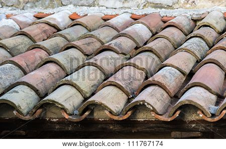 Ancient Tiled Roof In The Old Town